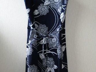 浴衣地 木槿模様 ノースリーブワンピース Lサイズの画像