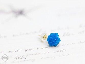 K18◆煌く碧き花 カバンサイト結晶ピアスの画像