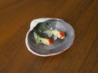 貝がら ミニチュア 丹頂二匹の画像