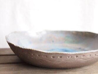 浅い鉢(青のマーブル)の画像