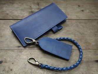 オーダー品 藍染め革 ほぼ日手帳カバー&キーケースの画像