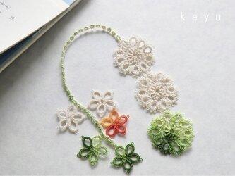 花しおり(緑+アイボリー)の画像