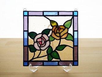 ステンドグラス ミニパネル プティローズ 15cmの画像