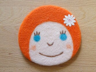 コースター おんなのこ〈オレンジ〉の画像