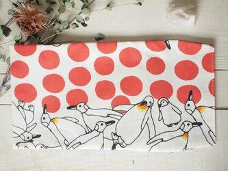 ペンギンとドット(裏布・ブルー)ブックカバーの画像