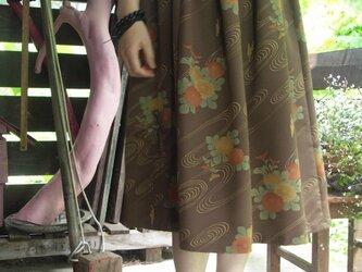 着物リメイク バルーン風 ロングギャザースカートの画像