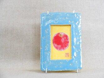陶額入日本画 りんごの画像