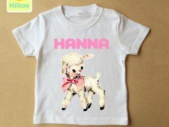 (size70~120)名前入りTシャツ【ピンクリボン子羊】の画像