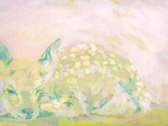 ウトウト小鹿(アクリル画)の画像
