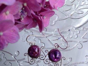 七宝焼ピアス   紫の画像