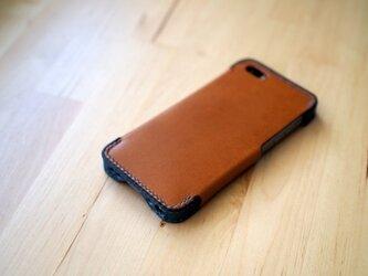 iPhone5s/5 レザーケース(ブラウン×ブルー)の画像