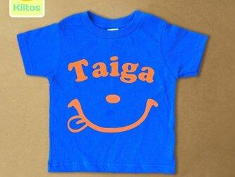 (size70~120)名前入りTシャツ【スマイルフェイス】の画像