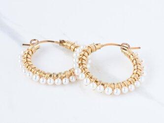 [PE] Freshwater pearl《M》Basic Hoop Pierced Earringの画像