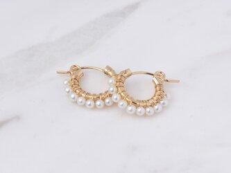 [PE] Freshwater pearl《S》Basic Hoop Pierced Earringの画像