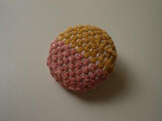 裂き織りブローチ『からし色&スモーキーオレンジ』の画像