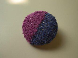 裂き織りブローチ『つつじ色&紫』の画像