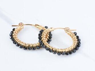 [PE] Black spinel《M》Basic Hoop Pierced Earringの画像