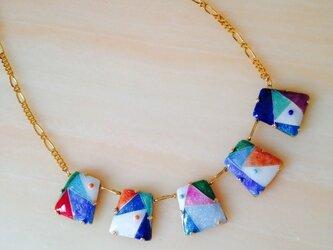 虹色ネックレス  七宝焼の画像