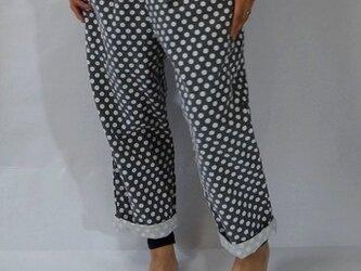 polka dots pants/linen&cottonの画像