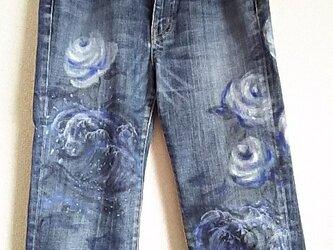 青い波と薔薇のハーフpants 手描き もったいない❤あ~との画像