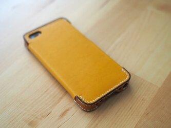 iPhone5s/5 レザーケース(イエロー×ブラウン)の画像