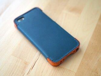 iPhone5s/5 レザーケース(ブルー×オレンジ)の画像
