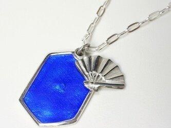 扇の七宝プレートペンダントトップ・青の画像