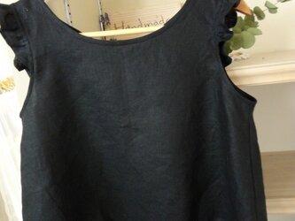 〔ご予約品〕バックオープンブラウス:黒リネンの画像