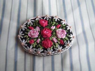 薔薇のリボン刺繍髪どめ[A-1]の画像