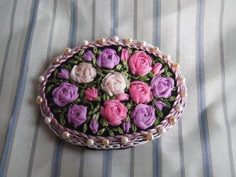 薔薇のリボン刺繍髪どめ[A-2]の画像