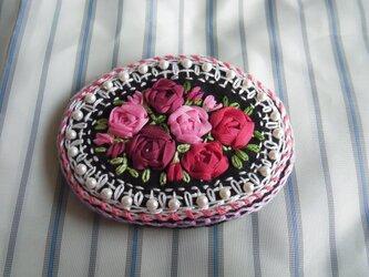 薔薇のリボン刺繍髪どめ[A-4]の画像