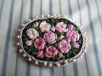 薔薇のリボン刺繍髪どめ[A-5]の画像