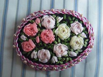 薔薇のリボン刺繍髪どめ[A-6]の画像