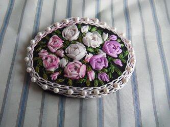 薔薇のリボン刺繍髪どめ[A-7]の画像