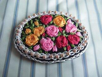 薔薇のリボン刺繍髪どめ[A-8]の画像