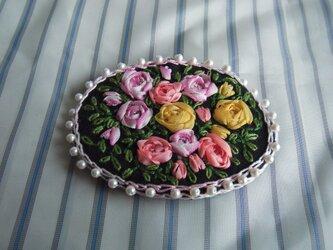 薔薇のリボン刺繍髪どめ[A-9]の画像