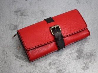 ダミーベルト イタリアンレザー長財布 レッドの画像