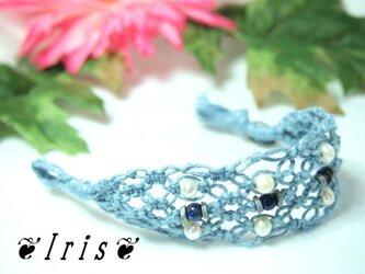 ヘンプの七宝結びブレス【9月ラピスラズリ&淡水パール】の画像