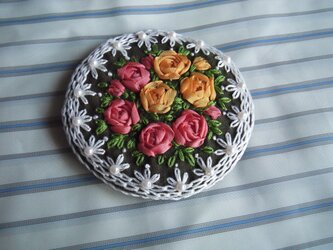 薔薇の刺繍髪飾り[B-4]の画像