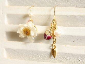 花かんざしのお花と蕾のアシンメトリーピアスの画像