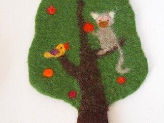 Pot Mat リスザルと小鳥の画像