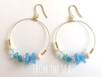 碧色の蝶と海色の宝石のピアスの画像