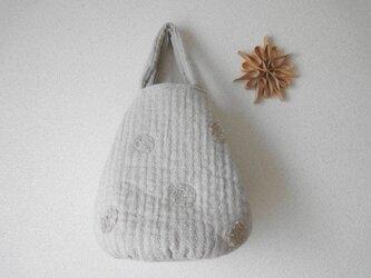 刺し子のドットバッグ <麻色ワントーン>の画像