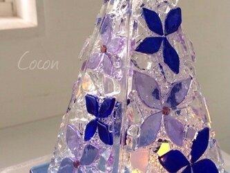 【オーダー制作】LEDキャンドルのミニランプ(ブルーフラワー)の画像