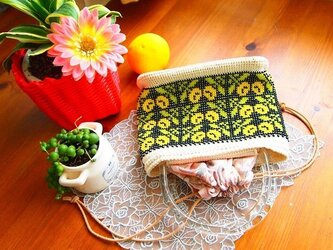 ビーズ編み浴衣バッグ - マリーゴルドの画像