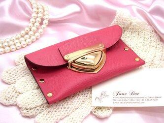 クラッチ・カードケース(名刺入れ)|P式パーティーレザー・ピンクの画像