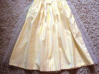 チュールスカート stripe yellowの画像