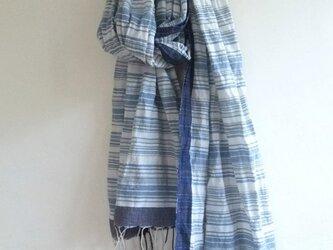 手紡ぎ 手織り インディゴリネンストール 21の画像