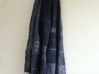 手紡ぎ 手織り インディゴ リネンストール 22の画像