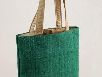 手織り紬 トートバッグ(グリーン)の画像